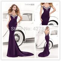 Tarik Ediz Satin Sheer Neck Purple See Through Low Back Trumpet Evening Dress Celebrity Formal Long Party Dress