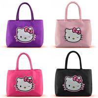 Free shipping 2014 Hot Sale Women's Fashionable Handbag Hello Kitty Printed tote bags Oxford fabric Handbags Casual bag for girl