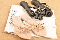 2014 Summer New sandals beach shoes Hot Brand V Rivent flip flops Jelly bowknot sweet Casual shoes women flats EUR 36-40