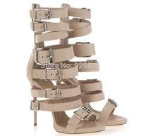 High Quality Women Genuine Leather Summer Sandals Booies Popular Brand Gladiator Buckle High Heel Sandals for Women