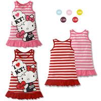2014 girls kt dress New fashion hello kitty cartoon striped vest dress girl princess dress KT baby girls cloth free shipping