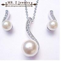 Free Shipping Fashion Rhinestone Necklace Earrings Set Pearl Wedding Jewelry Sets 5sets/lot