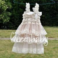 4pcs/lot vintage ivory Free Shipping Lace Dresses,,Wedding Dress,Baby Lace Dress Trail Order