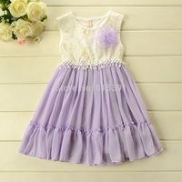 2014 Summer girls dresses Korean style flower princess dress gauze Odell Cotton PINK,PURPLE 100-140CM 5pcs/lot Wholesale WX45
