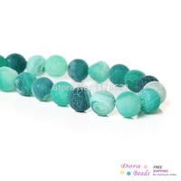 (Grade B) Synthetic Agate Gemstone Loose Beads Round Light Green Frost Popcorn About 8mm Dia,1 Strand(49PCs) (B34137)