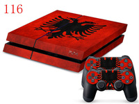 For Playstation 4 Console and Cover Decals Of 2 Controller Skin Sticker Albania national Flag