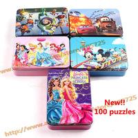 Free shipping Portable Storage gift! Classic cartoon characters Large Tin series of new puzzles for children! for kid gift106004