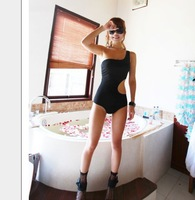 New Korean Fashion 2014 Girl's Sexy Swimwear Lady's One Piece Bathingsuit Cutout Waist One-shoulder Black Cheap XL XXL S025