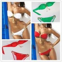 BK112 Beach Swimwear Bikini Women Biquini Brazil Push Up Swimwear Tankini Top Trikini Bathing Set 4 Color Swimsuit Free Shipping