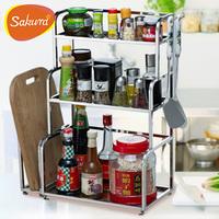 Sakur stainless steel shelf kitchen storage rack seasoning rack spice rack kitchen supplies shelf