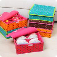 New Free Shipping Multi-color Cute Bra Underwear Storage Box 5 Lattice Non-woven Storage Container 4 Colors