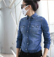Free Shipping 2014 Spring And Autumn New Arrival High Quality Turn Down Collar Denim Shirt Women Blouses M619 S M L XL