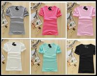 solid color t-shirt candy color 100% cotton female women's short-sleeve loose short-sleeve women T shirt wholesale