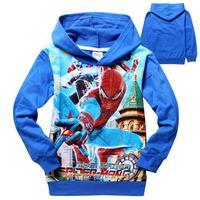 Reatil Free Shipping 2014 new kids spiderman hoodie jackets Boys cartoon outerwear spring autumn children`s coat