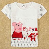 peppa pig girl t shirt new 2014 nova brand kids girl t shirt child clothing kid t shirt peppa clothes pink girls top short K4993