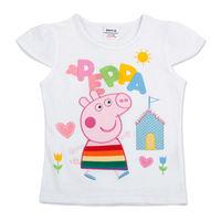 Hotsale Cute Kids Peppa Pig Clothing 100% Cotton Princess Girl's Print Cuff Tee Shirt Children Summer Lovely Colorful Tops tz02