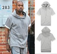 Solid color grey solid color yeezy short-sleeve hoodie men pullover sweatshirt pyrex23 yeezus hba 2014 new