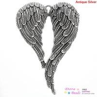 Charm Pendants Angel Wing Antique Silver 6.9x4.7cm,5PCs (K10046)