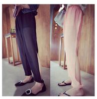 Free shipping new Korean fashion tailoring leg split repair legs were thin chiffon trousers women