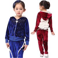 2014 children's clothing female child spring rhinestones set gold velvet child autumn child sportswear