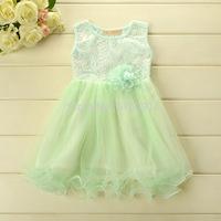Odell Cotton 2014 Summer  girls dresses Korean style Lovely sweet princess Lace dress 5pcs/lot Wholesale wx6006