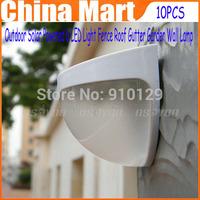 10pcs/lot est Price Outdoor Solar Powered 6 LED Light Fence Roof Gutter Garden Wall Lamp