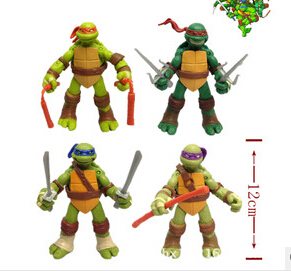 New version of the Teenage Mutant Ninja Turtles action figure TMNT 1 set of 4 dolls HT60500GE(China (Mainland))