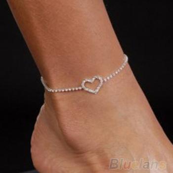 Sexy Lady Heart Горный хрусталь Anklet Foot Свадьба Jewelry Ankle Bracelet 1NW8