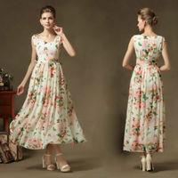 2014 New Women Summer Sleeveless V Neck Chiffon Long Dresses Butterfly Flower Printed Pleated Party Dress