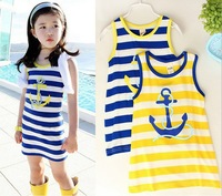 Summer Children Stripe Vest Dress Modal Cotton Stripe Anchor Trident Navy Style Sleeveless Girl Vest Dresses Kids Dress GX486