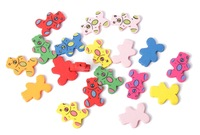 50PCS Mixed Colours Cute Wooden Cartoon Bear Beads #24917