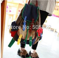 New student stylish shoulder bag Korean hit color bag shoulder bag canvas belt