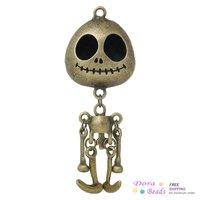 "Charm Pendants Skull Halloween Antique Bronze 7.4cm x 2.8cm(2 7/8"" x1 1/8""),2PCs (B37150)"