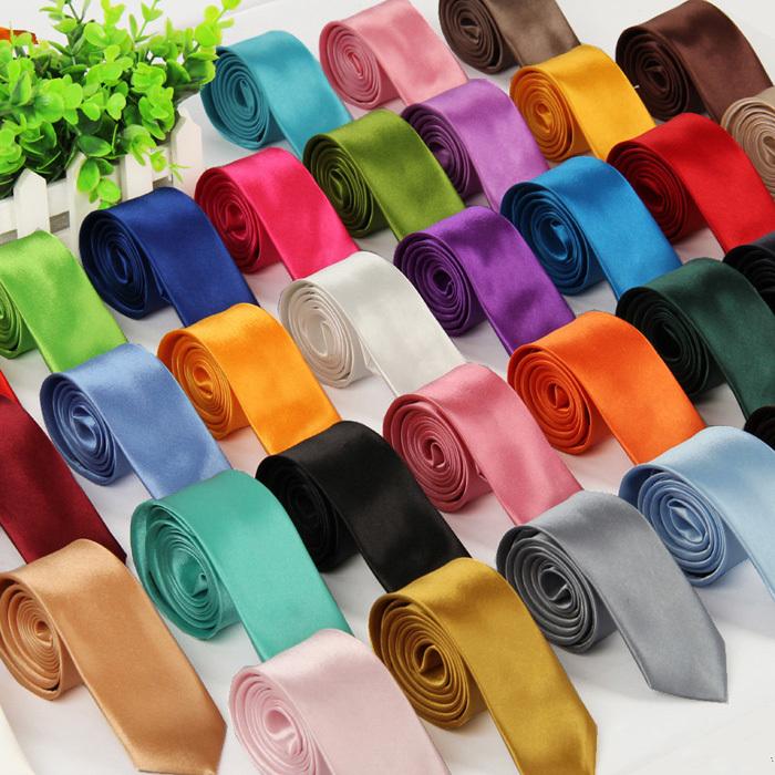 10Pcs / lot Fashion Gravata Casual Tie 5cm Ultra-narrow Version Ties For Men Solid Color Neckties Cravat Wholesale Free Shipping(China (Mainland))