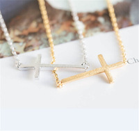 2014 New Arrival Fashion SidewaysHammered Cross Necklace in color gold/silver/rose gold 30 pcs/lot Free Shipping Drop Shipping