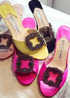Free Shipping 2014 Elegant rhinestone sheepskin side buckle high heel open toe slippers cheap