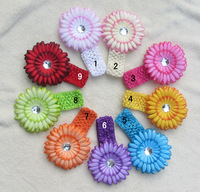 "New Arrival Mix 10set Gerbera Daisy Flower Clips +1.5"" Elastic Stretch Crochet Headband Toddler Infant Headbands Baby  Headwear"