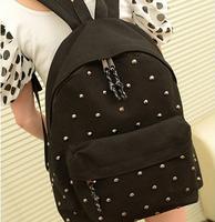 New 2014 Fashion Japan and Korean Style men's backpacks Rivet bag Canvas Shoulder bags women Backpack schoolbag man travel bags
