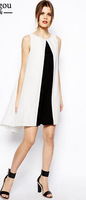 2014 New Chic Women Loose Summer Pleated Chiffon Dresses  Vest Sleeveless White Black Patchwork  women chiffon Dress  #zpp636
