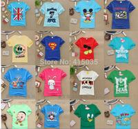 2014 boys girls short-sleeved t-shirts wholesale Pure cotton T-shirt cartoon round collar T-shirt all -match