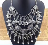 New Design Vintage Punk Ethnic Silver Rivets Jingle Bells Round Beads Tassel Statement Shourouk Necklace