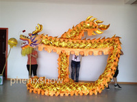 5 JOINT yellow golden  shinning 10 meter brand new dragon dance mascot costume china special culture holiday party
