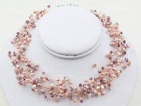Nice Multi Strands Pink Freshwater Pearl and Crystal Necklace - Women necklace
