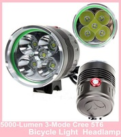 5*Cree XM-L T6 Bicycle Light Max 5000-Lumen 3-Mode 5T6 Bike Light Headlamp 4*18650 battery pack + charger
