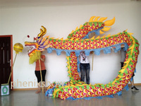 5 JOINT colorful golden  10 meter brand new dragon dance mascot costume china special culture holiday party