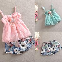 2014 Kids Girls Chiffon Straps Tops + Floral Pattern Short Pants Set Cute Costume 2Pcs1-5Y Free Shipping
