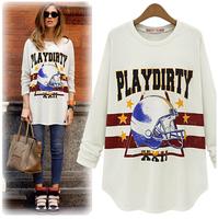 Lanluu 2014 New Arrival Printed Casual Hip-hop Long Sweater Coat Women Sport Sweatershirts Tops SQ389