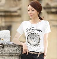 summer dress 2014 t-shirt women crop top atacado roupas femininas punk plus size S-XXXL women's clothing