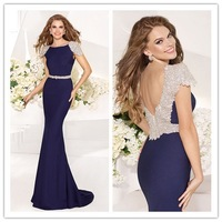 2014 Elegant Women Cap Sleeve Navy Blue Sexy Mermaid Backless Long Prom Dress Party Gown Formal Evening Dresses