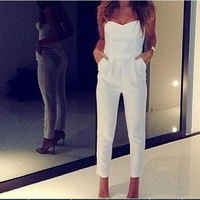 2014 The new fashion celebrities a strapless white Bodycon jumpsuit, sexy women jumpsuits jumpsuit, bandage overalls